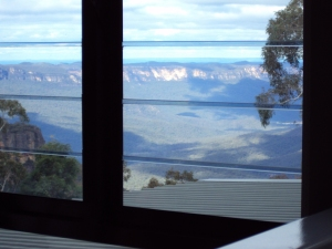 The valley and blue mountains behind