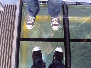 On the glass floor